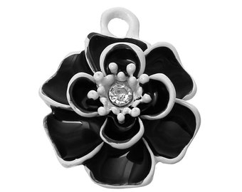 2 Camellia Flower Rhinestone Charms, Black and White Enamel Plated Charms (1Q-52)
