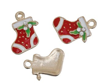 2 Christmas Stocking Charms, Gold Plated Enamel with Rhinestones (1G-122)