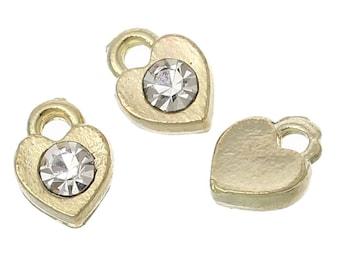 20 Tiny Rhinestone Heart Charms, Gold Plated Rhinestone (1R-64)