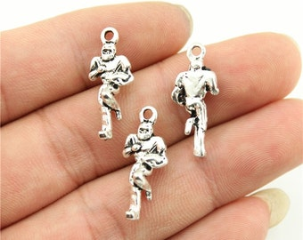 9 Football Player Charms, Antique Silver Tone (1B-132)