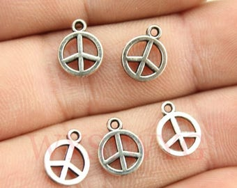 20 Tiny Peace Sign Charms, Antique Silver Tone (1P-52)