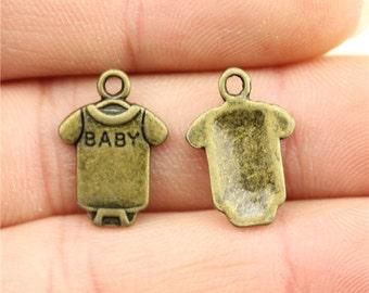 10 Baby Onesie Charms, Antique Bronze Tone (1H-60)