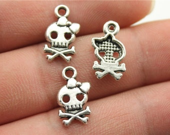 20 Girl Skull with Bow Charms, Antique Silver Tone (1J-112)