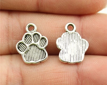 10 Dog Paw Charms, Antique Silver Tone Charms (1B-160)