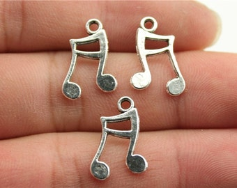 10 Music Note Charms, Antique Silver Tone Charms (1A-237)