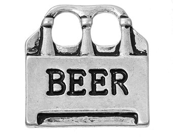 5 Beer Charms, Antique Silver Tone (1K-236)