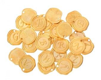 26 Gold Alphabet Charms, 18mm (1G-255)