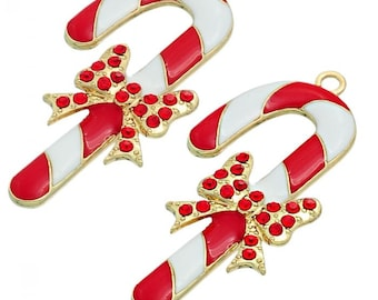 1 Candy Cane Charm with Rhinestones, Gold Plated (1G-251)