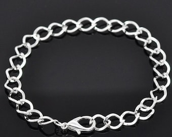 6  Curb Chain Bracelets with Lobster Clasp, Silver Plated (1M-208)