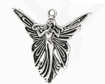 3 Large Fairy Charms,  Antique Silver Tone (1K-195)