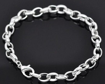 """6 Thick Link Chain Bracelets with Lobster Clasps, 7 1/2"""", Silver Plated (1S-30)"""