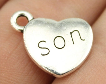 4 Son Heart Charms, Antique Silver Tone (1B-40)