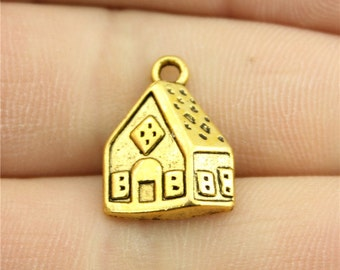 8 House Charms, Antique Gold Tone Charms (1C-183)