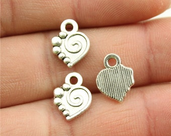20 Heart Charms, Antique Silver Tone Charms (1A-110)