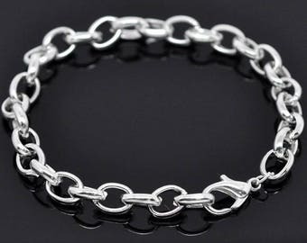 """6 Link Chain Bracelets with Lobster Clasp, 20cm (7 7/8"""") Silver Plated (1S-34)"""
