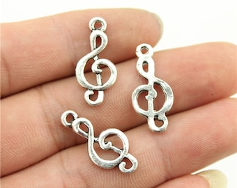 10 Music Note Charms, Antique Silver Tone Charms (1B-140)