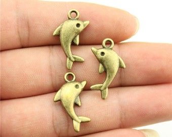9 Dolphin Charms, Antique Bronze Tone Charms (1M-6)