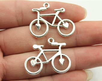 6 Bicycle Charms, Antique Silver Tone Charms (1A-239)