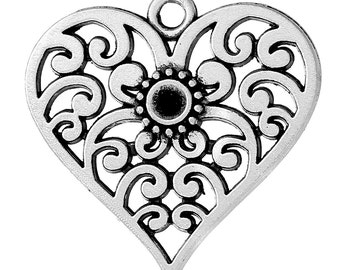 2 Heart Charms, Holds SS12 Rhinestone, Antique Silver Tone (1A-15)