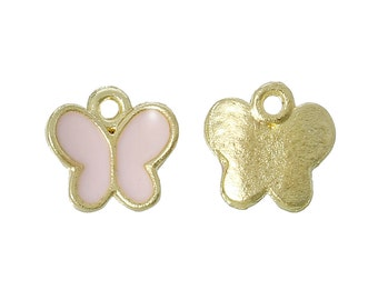 5 Pink Butterfly Charms, Gold Plated Enamel (1L-86)