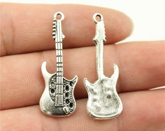 4 Guitar Charms, Antique Silver Tone (1A-91)