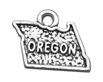 4 Oregon State Charms, Antique Silver Tone (1J-81)