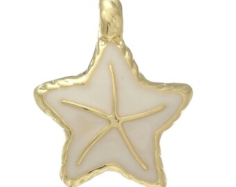 2 Ivory Starfish Charms, Gold Plated Enamel (1G-248)