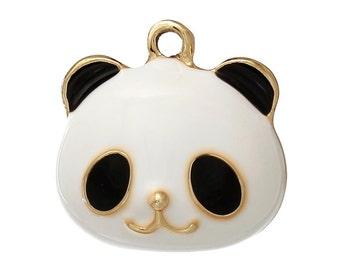 2 Panda Head Charms, Gold Plated Enamel (1J-150)