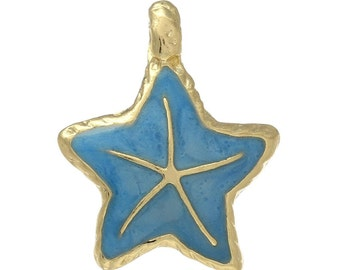 2 Blue Starfish Charms, Gold Plated Enamel (1G-247)