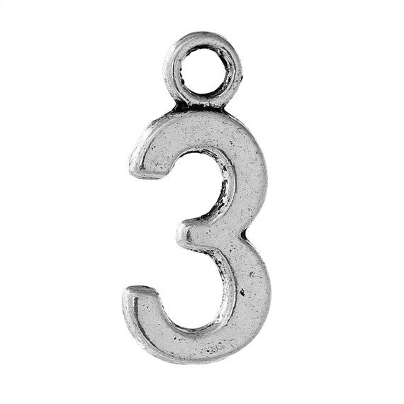 10 Number 3 charms antique silver tone