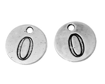 10 Number 0 Zero Charms, Antique Silver Tone (1H-166)