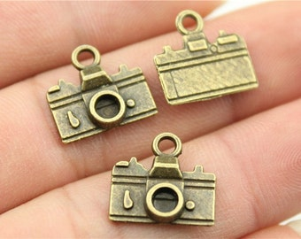 10 Camera Charms,  Antique Bronze Tone Charms (1J-56)