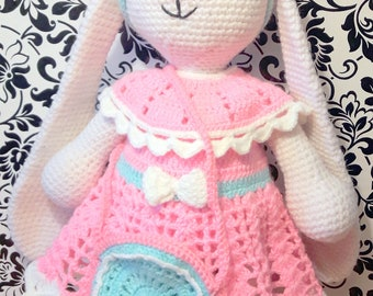 PATTERN Crochet Bunny - girl and Clothes for her - dress, hat, panties, shoes, bag Download PDF-file
