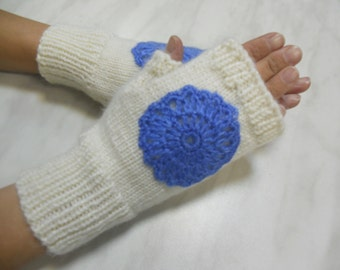 SALE!!! Knitted fingerless gloves Knitted mittens Winter accessories Wrist warmer Crochet flower Cristmas gift