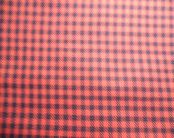 Soviet vintage red-black plaid fabric, blend wool and polyester 1,62 yard Fabric from USSR Soviet design Retro decor 1980-s