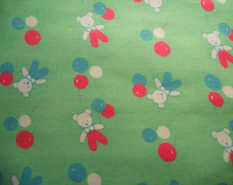Soviet vintage fabric flannel Fabric from USSR Soviet design Cotton 100% green color 1980-s
