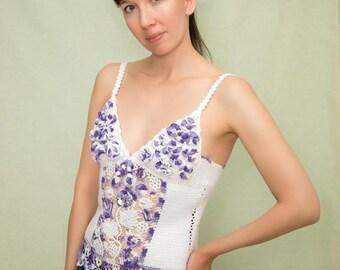 Women's top, crochetwhite violet top, summer top,sexy top, ireland crochet top