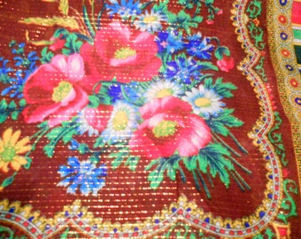 Soviet vintage blend wool and polyamid shawl with floral pattern Folk scarf in russian tradition Russian style Shawl from USSR 1980-s