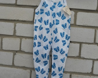 Soviet vintage baby onesie with blue butterflys Cotton knitwear onesie from USSR Blue butterflys Baby playsuit  in soviet style of 1980-s