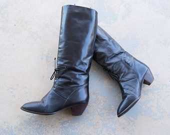 80's riding leather lace up boots