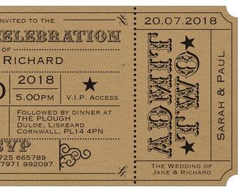 ticket invite, wedding invitation, Kraft card rustic wedding invite