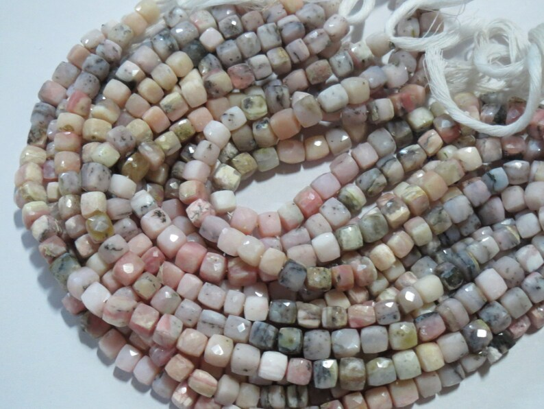 12 Natural Pink Opal Faceted box Cube stone beads Gemstone bead strand Semi precious stones loose chakra Healing Crystals Jewelry Supplies