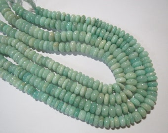 """LARGE Natural Amazonite Smooth rondelle stone beads 13"""" strand 10 mm Semi precious stone Gemstone beads Crystals Jewelry gems craft Supplies"""