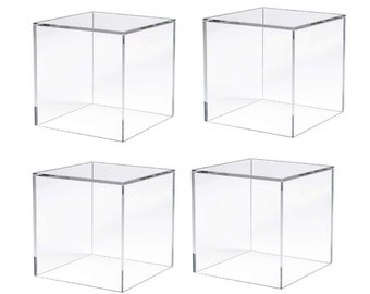 """N'ice Packaging 4 Pieces Acrylic Cube 5 Solid Sides - 5"""" x 5"""" x 5"""""""