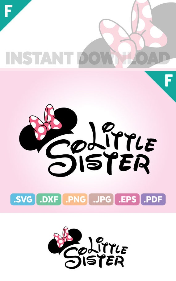 Little Sister Mouse Ears Cut File, Ribbon Sister Quotes SVG Files, Little  Sister SVG Files, Sister Birthday Cutting File, Instant Download