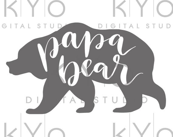 Papa Bear svg cut files Papa Bear clipart PNG Bear Silhouette svg design cut file Studio3 dxf Love svg svg cut files for Cricut Silhouette