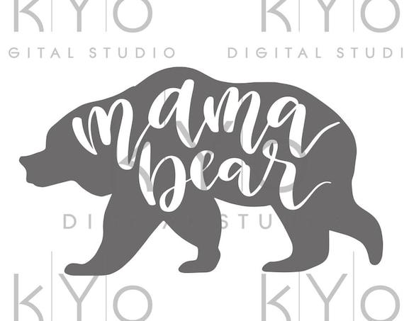 Mama Bear svg cut files Mama Bear clipart PNG Bear Silhouette svg design cut file Studio3 dxf Love svg svg cut files for Cricut Silhouette