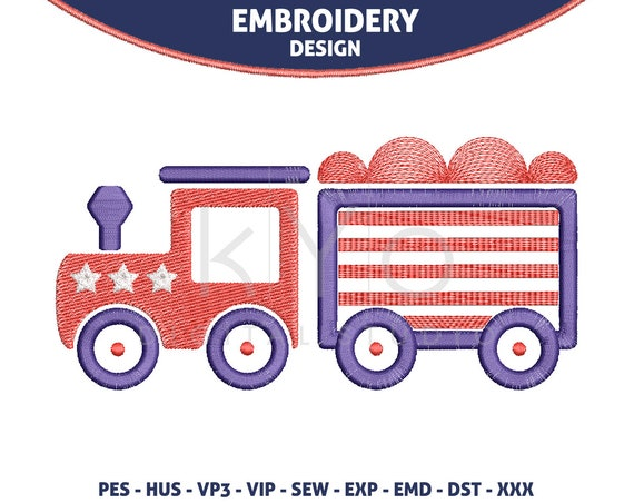 4th of July Independence Day Embroidery design America embroidery design HUS vip SEW dst VP3 exp PES design kids train embroidery designs