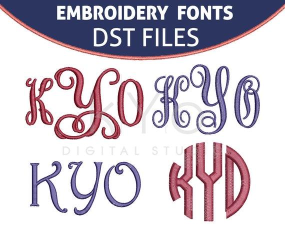 DST Embroidery Monogram Fonts Bundle, Elna DST Embroidery files, Interlocking Vine Circle Monogram Harrington embroidery files