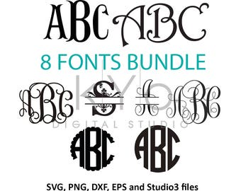 Font Bundle svg, Cricut Fonts svg files Cricut Monogram Font svg Cricut design Silhouette cut files vine monogram font download svg